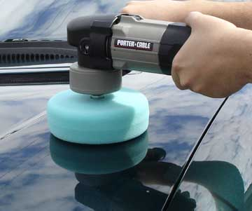 Porter Cable using The Edge Da Adaptor with a 8 inch foam pad