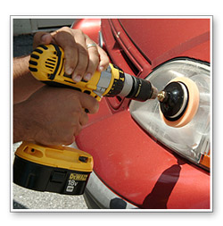 "Use a 4"" orange pad to work Wolfgang Plastik Lens Cleaner into the headlight."
