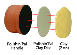 The Polishin' Pal attaches to the clay disc, then use about 2 oz. of clay and flatten to disc, it's that easy!