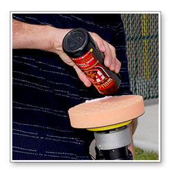 Pour a bead of Wolfgang Total Swirl Remover 3.0 onto a light cutting pad.