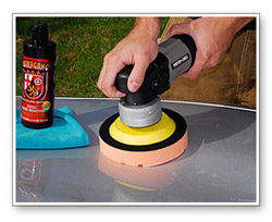 Turn the polisher at a speed of 5 or 6 and work side to side, then up and down.